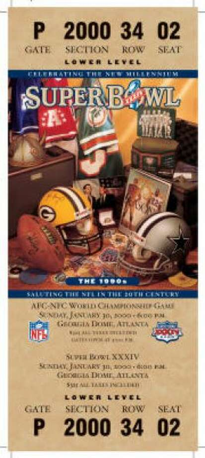 Super Bowl XXXIV Date: Jan. 30, 2000 Location: Georgia Dome, Atlanta Result: St. Louis 23, Tennessee 16 Price: $325 Photo: Photo By NFL