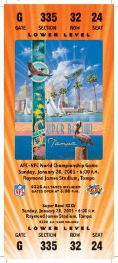 Super Bowl XXXVDate:Jan. 28, 2001 Location: Raymond James Stadium, Tampa, Fla. Result: Baltimore 34, New York Giants 7 Price: $325 Photo: Photo By NFL