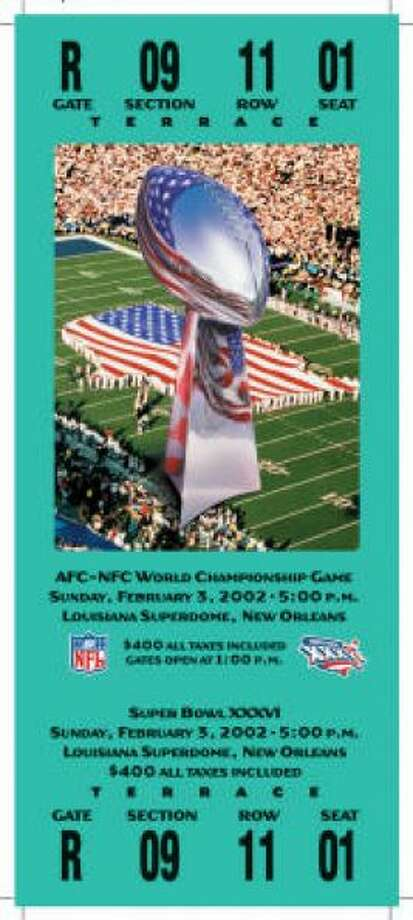 Super Bowl XXXVI Date: Feb. 3, 2002 Location: Superdome, New Orleans Result: New England 20, St. Louis 17 Price: $400 Photo: Photo By NFL