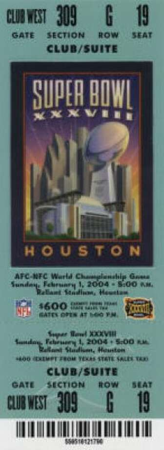 Super Bowl XXXVIII Date: Feb. 1, 2004 Location: Reliant Stadium,. Houston Result: New England 32, Carolina 29 Price: $600, $500, $400 Photo: Photo By NFL