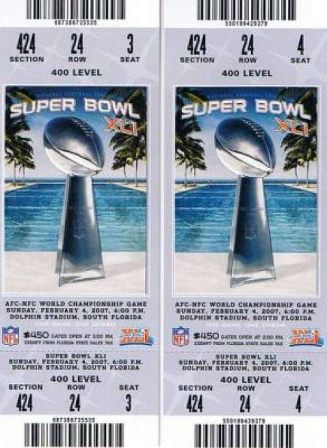Super Bowl XLI Date: Feb. 4, 2007 Location: Dolphin Stadium, Miami Result: Indianapolis 29, Chicago 17 Price: $700, $600 Photo: Photo By NFL