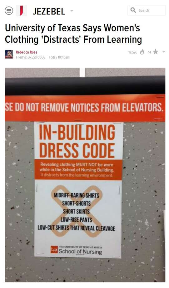 Dress code sign removed by University of Texas officials. Photo: Jezebel