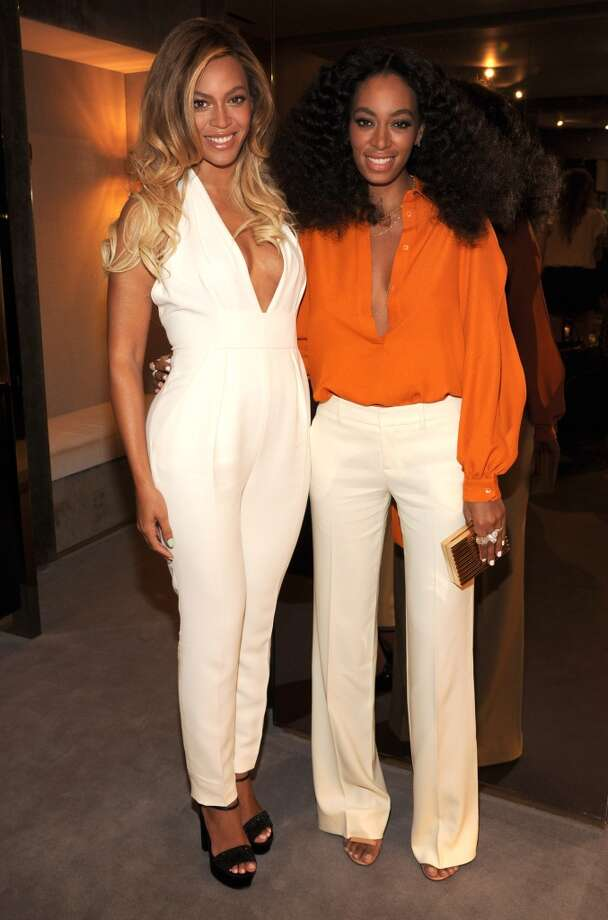 Beyonce and Solange attend the CHIME FOR CHANGE One-Year Anniversary Event hosted by Gucci Creative Director Frida Giannini and T Magazine Editor-In-Chief Deborah Needleman at Gucci Fifth Avenue on June 3, 2014 in New York City. Photo: Kevin Mazur /Chime For Change/Ge, Getty Images For Gucci