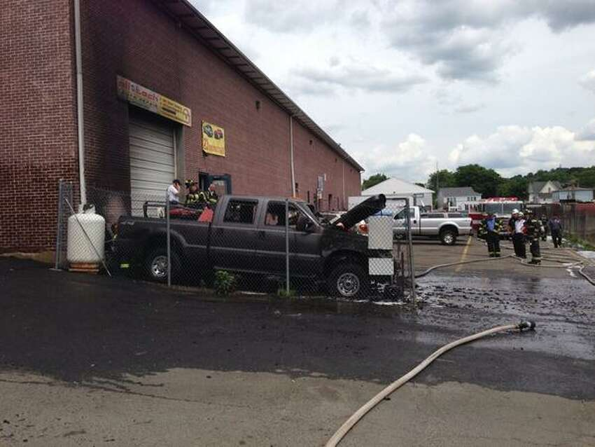 The fire completely gutted the pickup truck.