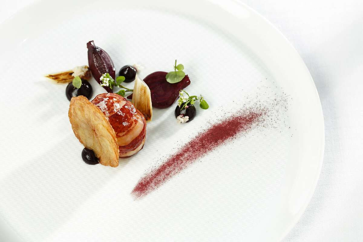 """""""Beets and Leeks,"""" one of the dishes at The French Laundry, is seen on Thursday, May 29, 2014 in Yountville, Calif."""
