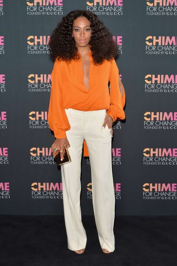 Solange Knowles attends the CHIME FOR CHANGE One-Year Anniversary Event hosted by Gucci Creative Director Frida Giannini and T Magazine Editor-In-Chief Deborah Needleman at Gucci Fifth Avenue on June 3, 2014 in New York City. Photo: Andrew Walker /Chime For Change/, Getty Images For Gucci