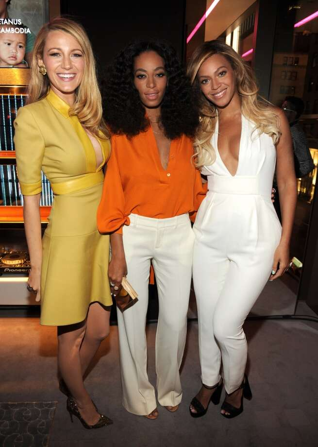 Blake Lively, Solange and Beyonce attend the CHIME FOR CHANGE One-Year Anniversary Event hosted by Gucci Creative Director Frida Giannini and T Magazine Editor-In-Chief Deborah Needleman at Gucci Fifth Avenue on June 3, 2014 in New York City. Photo: Kevin Mazur /Chime For Change/Ge, Getty Images For Gucci