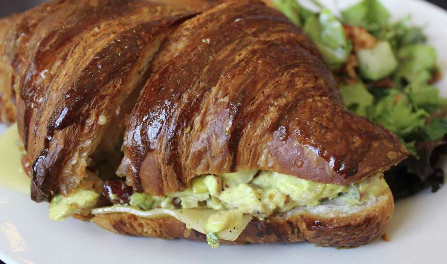 Grayson Street Eatery offers  a Chipotle Chicken Salad Sandwich  with gouda and smoked bacon on a croissant made by the nearby Bakery Lorraine. Photo: Photos By Jennifer McInnis / San Antonio Express-News
