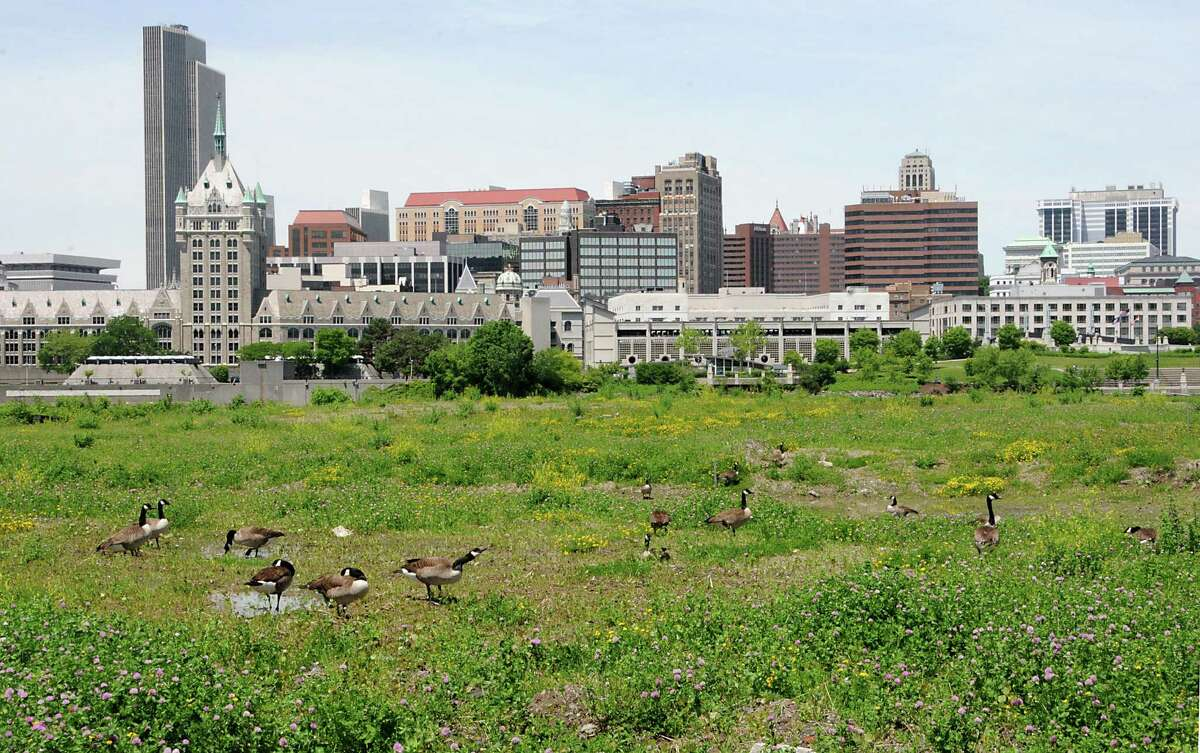 View of the Albany skyline from De Laet's Landing Wednesday, June 4, 2014 in Rensselaer, N.Y. De Laet's Landing is back in play as a front runner for a possible casino site. (Lori Van Buren / Times Union)