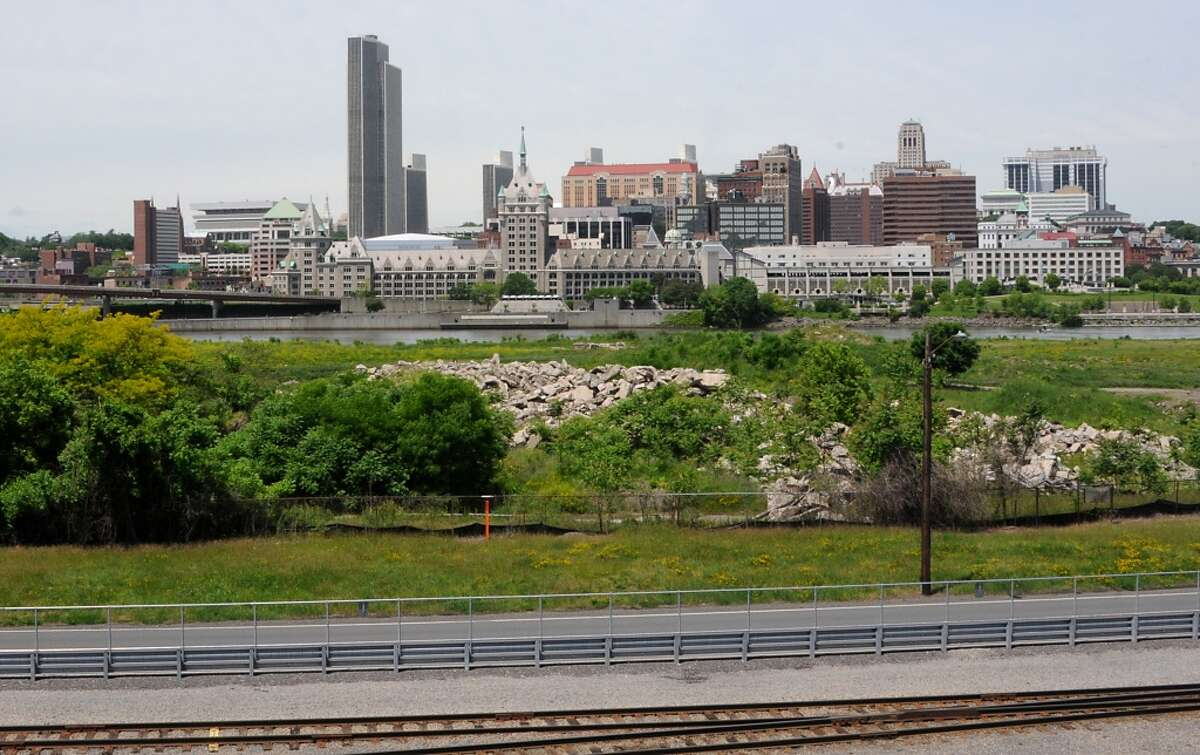 View of the Albany skyline from Bridge looking over De Laet's Landing Wednesday, June 4, 2014 in Rensselaer, N.Y. De Laet's Landing is back in play as a front runner for a possible casino site. (Lori Van Buren / Times Union)