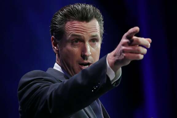 Lt. Governor Gavin Newsom speaks at the California Democratic Convention in Los Angeles, California March 8, 2014.  photo/Jonathan Alcorn for the Chronicle