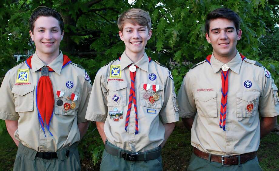 Three Westport Boy Scouts have earned the rank of Eagle Scout and will be presented with their rank badge on June 8. They are, from left: Zachary Effman, Lucas Nash and Nicholas Moro. Photo: Contributed Photo / Westport News