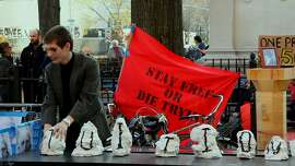 """A student protest against tuition at Cooper Union, from the documentary """"Ivory Tower"""""""