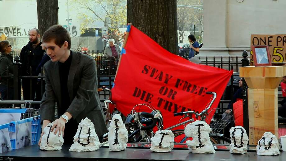 "A student stages a protest against tuition at Cooper Union, from ""Ivory Tower,"" Andrew Rossi's documentary about student debt. Photo: Samuel Goldwyn Films, Samuiel Goldwyn Films"