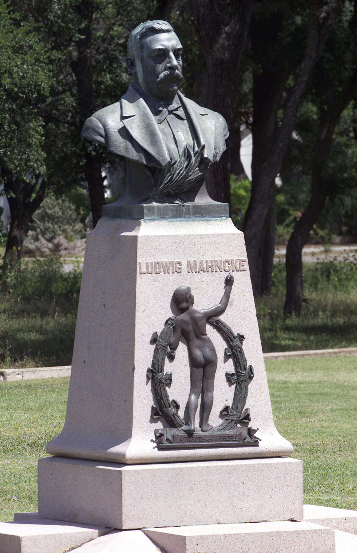 A little over a hundred years ago, George W. Brackenridge, who owned and sold the city's Water Works Company, donated land for a park. He asked his friend Ludwig Mahncke to make improvements. After Mahncke died, the parked was named in his honor and this monument was erected.Source: mahnckepark.org