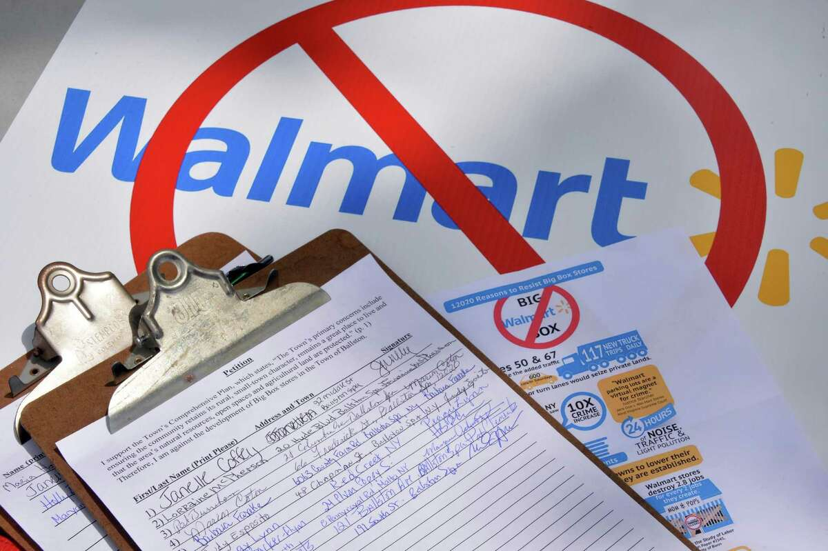 Smart Growth Ballston is gathering petition signatures to protest the application of a big box development by a Walmart Saturday May 17, 2014, in Ballston Spa, NY. (John Carl D'Annibale / Times Union)