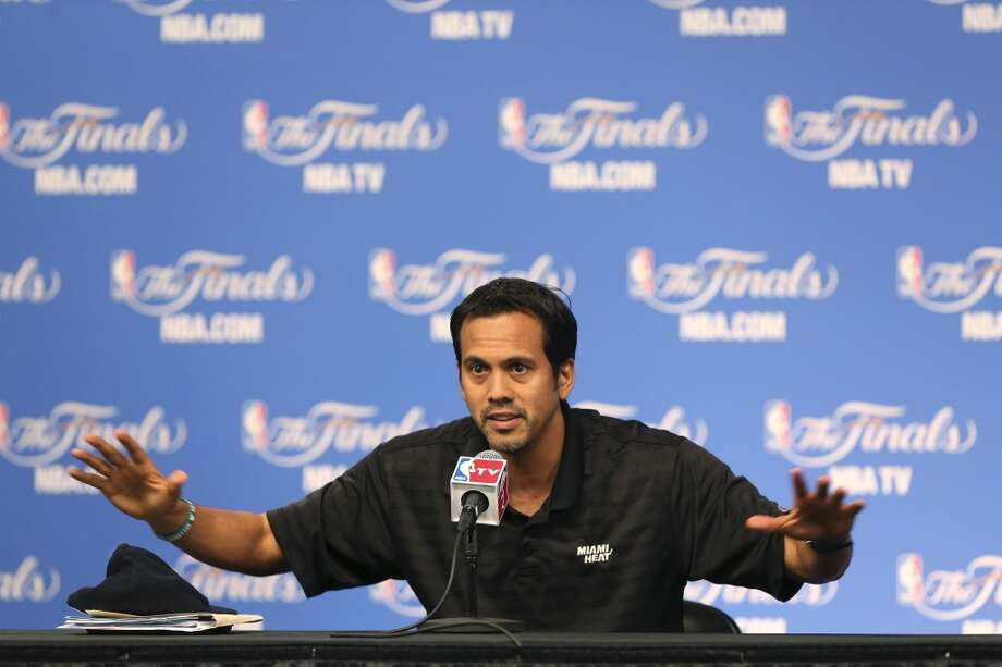 Miami Heat's head coach Erik Spoelstra talks with media before practice at the AT&T Center, Wednesday, June 4, 2014. The Heat will play the San Antonio Spurs in the NBA Finals starting on Thursday. Photo: Jerry Lara, San Antonio Express-News