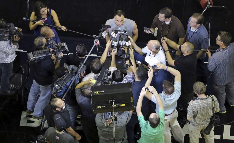 San Antonio Spurs' Manu Ginobili answers questions from the media Wednesday, June 4, 2014, at the AT&T Center. The Spurs will play the Miami Heat in Game 1 of the NBA Finals Thursday at the AT&T Center. Photo: Edward A. Ornelas, San Antonio Express-News