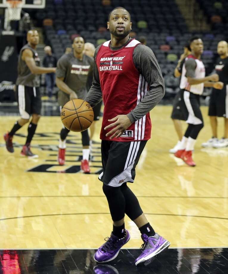 Miami Heat's Dwyane Wade takes part in practice Wednesday, June 4, 2014, at the AT&T Center. The Spurs will play the Miami Heat in Game 1 of the NBA Finals Thursday at the AT&T Center. Photo: Edward A. Ornelas, San Antonio Express-News