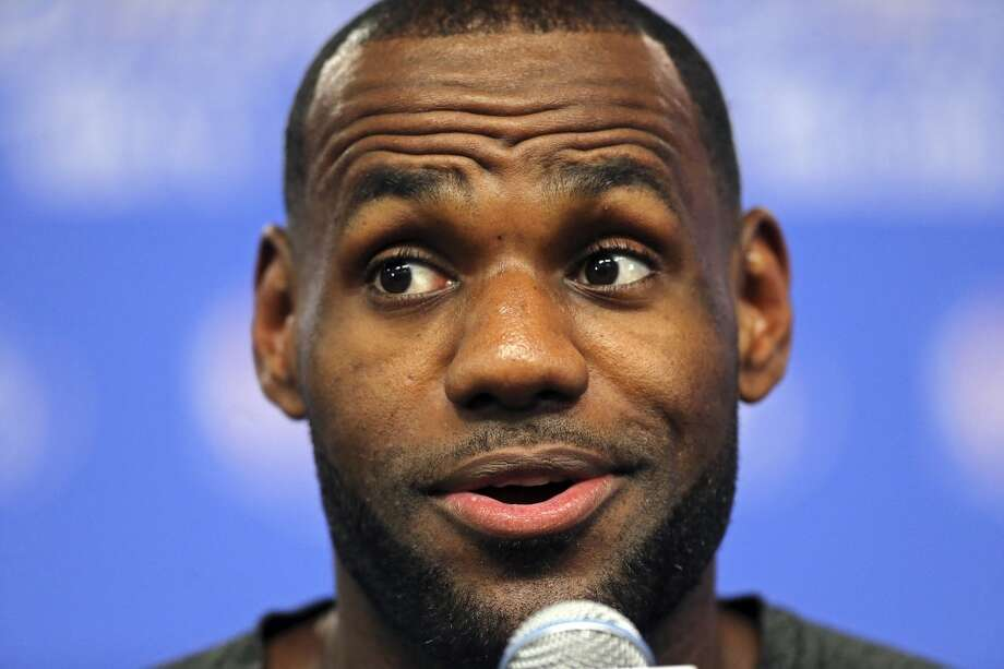 Miami Heat's LeBron James answers questions from the media Wednesday, June 4, 2014, at the AT&T Center. The Spurs will play the Miami Heat in Game 1 of the NBA Finals Thursday at the AT&T Center. Photo: Edward A. Ornelas, San Antonio Express-News