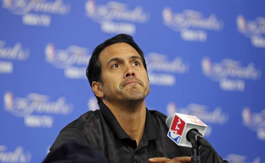 Miami Heat's head coach Erik Spoelstra answers questions from the media Wednesday, June 4, 2014, at the AT&T Center. The Spurs will play the Miami Heat in Game 1 of the NBA Finals Thursday at the AT&T Center. Photo: Edward A. Ornelas, San Antonio Express-News