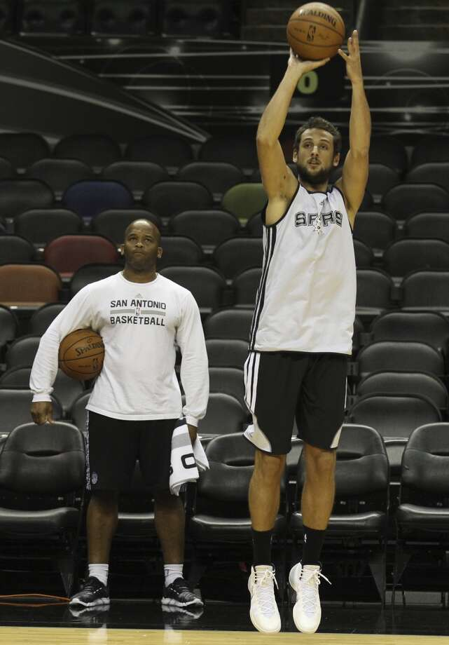 Spurs' Marco Belinelli shoots the ball during the NBA Finals practice and media session at the AT&T Center on Wednesday, June 4, 2014. The Spurs will play Game 1 of the Finals against the Miami Heat on Thursday. Photo: Kin Man Hui, San Antonio Express-News