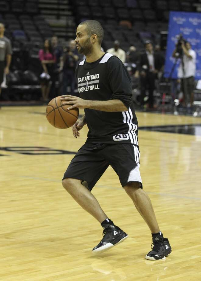 Spurs' Tony Parker takes part in practice during the NBA Finals practice and media session at the AT&T Center on Wednesday, June 4, 2014. The Spurs will play Game 1 of the Finals against the Miami Heat on Thursday. Photo: Kin Man Hui, San Antonio Express-News