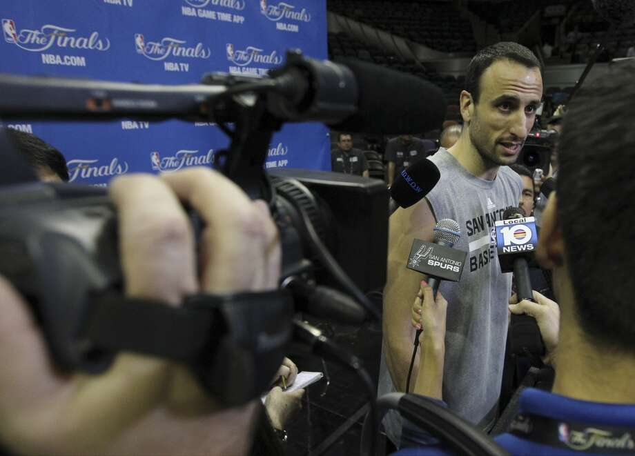 Spurs' Manu Ginobili answers questions during the NBA Finals practice and media session at the AT&T Center on Wednesday, June 4, 2014. The Spurs will play Game 1 of the Finals against the Miami Heat on Thursday. Photo: Kin Man Hui, San Antonio Express-News