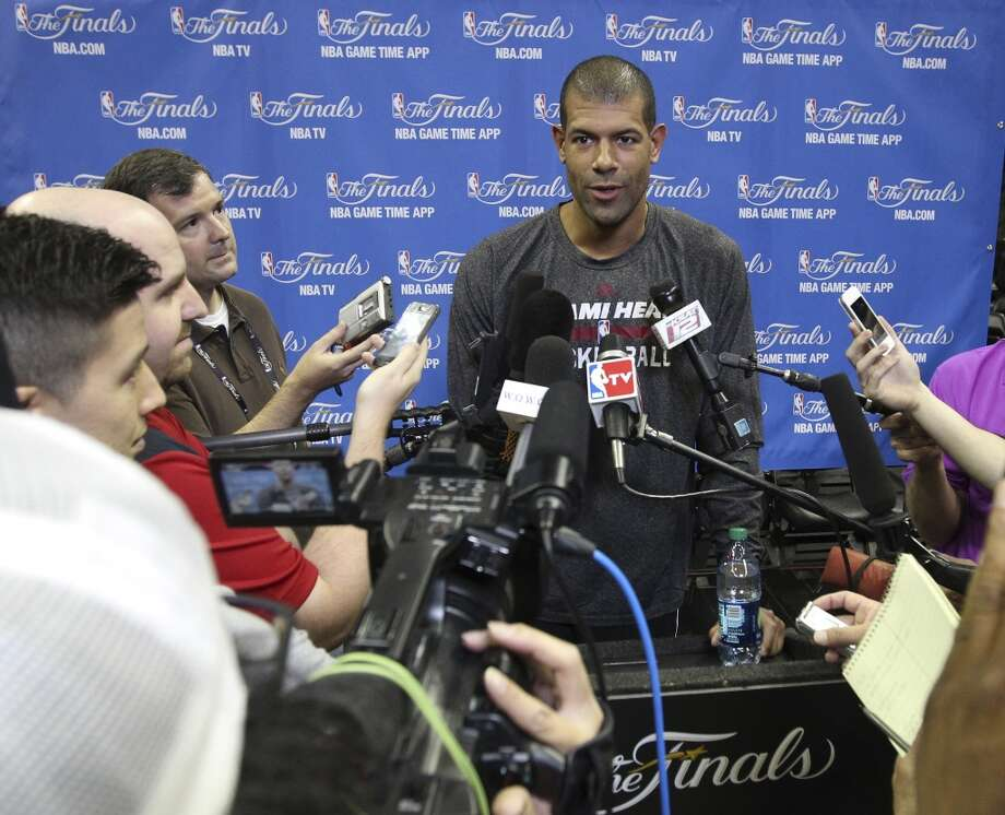 Miami Heat's Shane Battier answers question from the media during the NBA Finals practice and media session at the AT&T Center on Wednesday, June 4, 2014. The Spurs will play Game 1 of the Finals against the Miami Heat on Thursday. Photo: Kin Man Hui, San Antonio Express-News