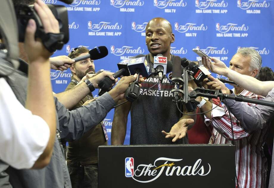 Miami Heat's Ray Allen answers questions from the media during the NBA Finals practice and media session at the AT&T Center on Wednesday, June 4, 2014. The Spurs will play Game 1 of the Finals against the Miami Heat on Thursday. Photo: Kin Man Hui, San Antonio Express-News