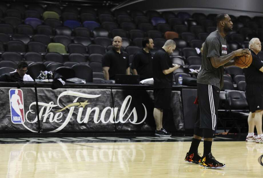 Miami Heats' LeBron James works out during the NBA Finals practice and media session at the AT&T Center on Wednesday, June 4, 2014. The Heat will play Game 1 of the Finals against the Spurs on Thursday. Photo: Kin Man Hui, San Antonio Express-News
