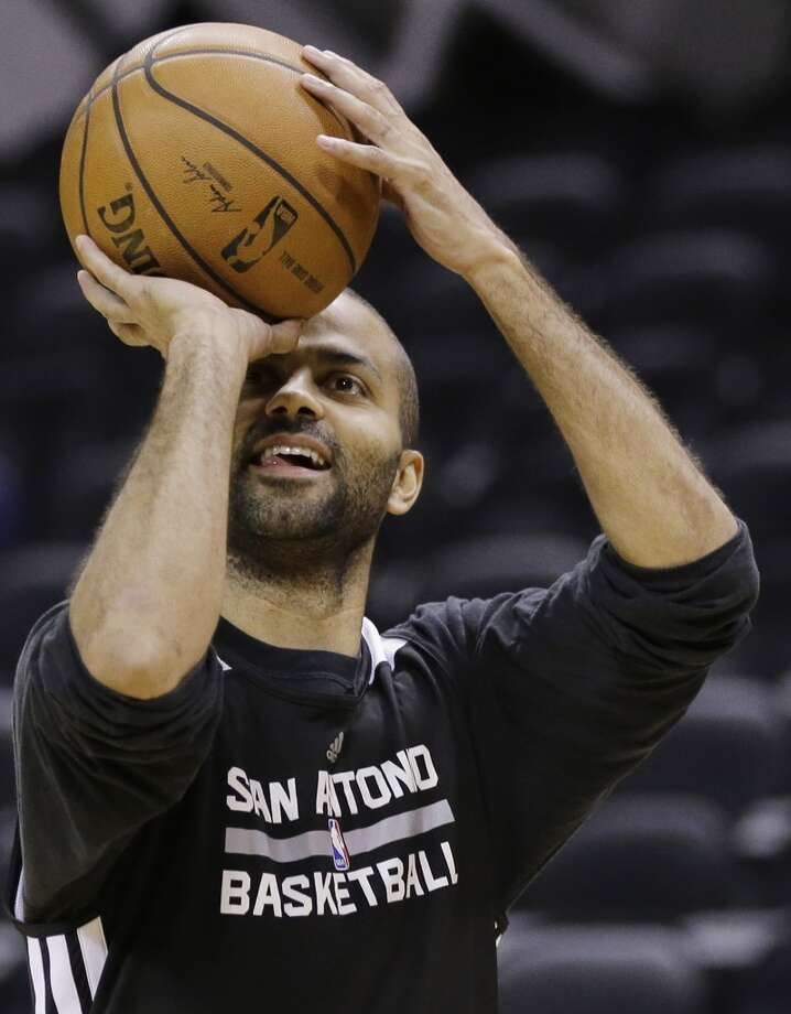 San Antonio Spurs guard Tony Parker shoots the ball during basketball practice on Wednesday, June 4, 2014, in San Antonio. The Spurs play Game 1 of the NBA Finals against the Miami Heat on Thursday. Photo: Eric Gay, Associated Press