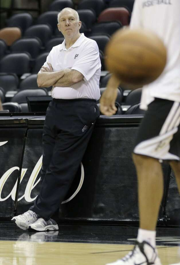 San Antonio Spurs head coach Gregg Popovich watches his team during basketball practice on Wednesday, June 4, 2014, in San Antonio. The Spurs play Game 1 of the NBA Finals against the Miami Heat on Thursday. Photo: Eric Gay, Associated Press