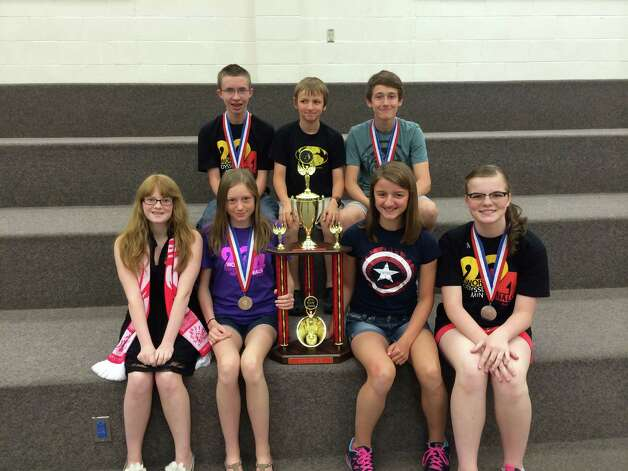 CANAJOHARIE -- The Canajoharie Middle School will celebrate its Odyssey of the Mind success this past weekend with a school-wide assembly at 12:20 p.m. Thursday, June 5, in the Nellis athletic facility. The team ranked second in its division at last week's Odyssey of the Mind World Finals in Ames, Iowa. After being named divisional state champions last month, the team competed against hundreds of other students from around the world at Iowa State University. Students in photo: Top row from left to right: Phillip Leverett, Benjamin Field, and Louis Hand. Bottom row from left to right: Breanna Snyder, Madeline Elliot, Samantha Field, and Danyell Monk.