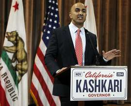 California Republican gubernatorial candidate Neel Kashkari speaks at a news conference on Wednesday, June 4, 2014, in the Corona Del Mar area of Newport Beach, Calif. Kashkari won his party's primary, advancing to the general election to face Gov. Jerry Brown in November 2014. (AP Photo/Alex Gallardo)
