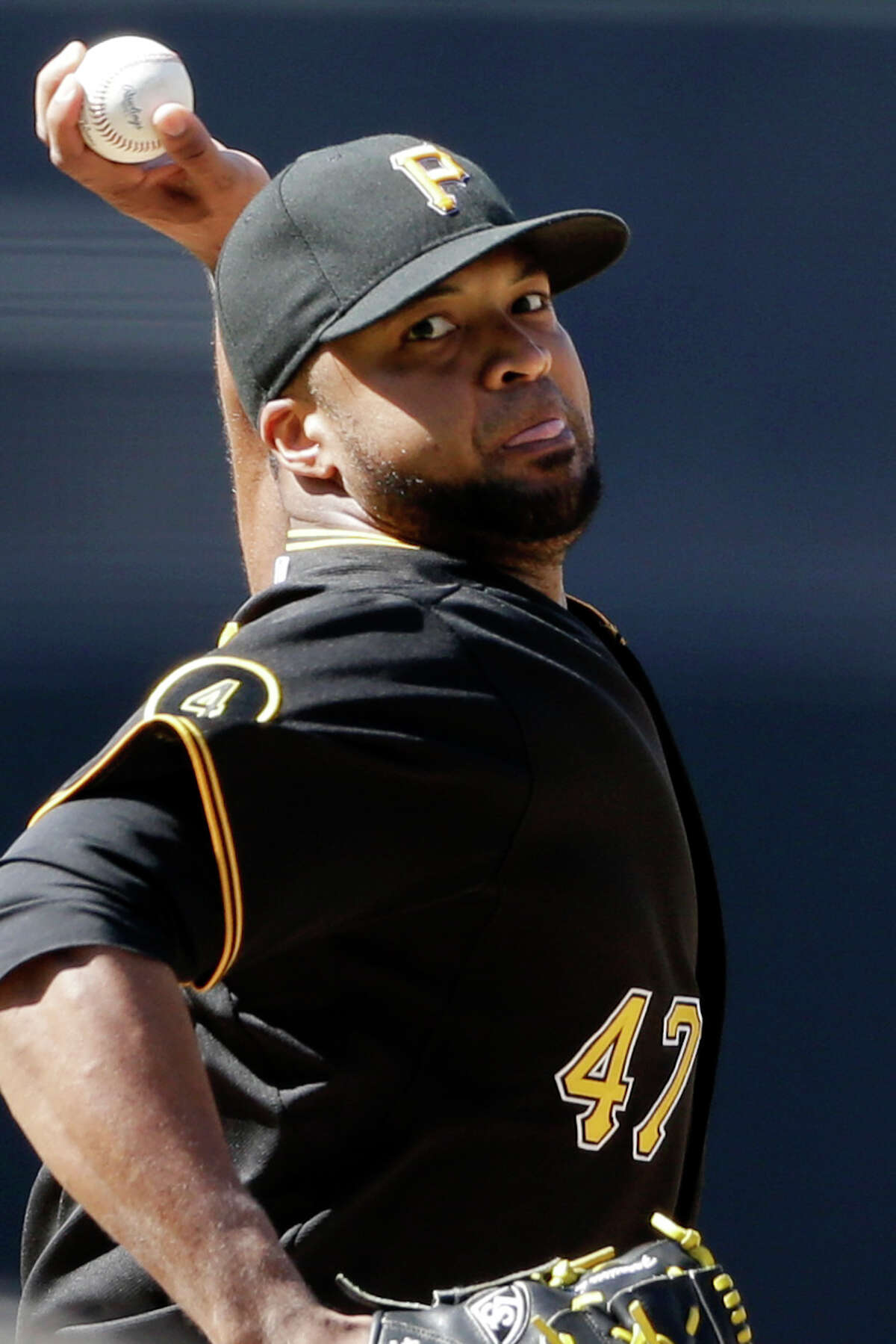 Pittsburgh Pirates starting pitcher Francisco Liriano pitches to a San Diego Padres batter during the first inning of a baseball game Wednesday, June 4, 2014, in San Diego. (AP Photo/Gregory Bull) ORG XMIT: CAGB104