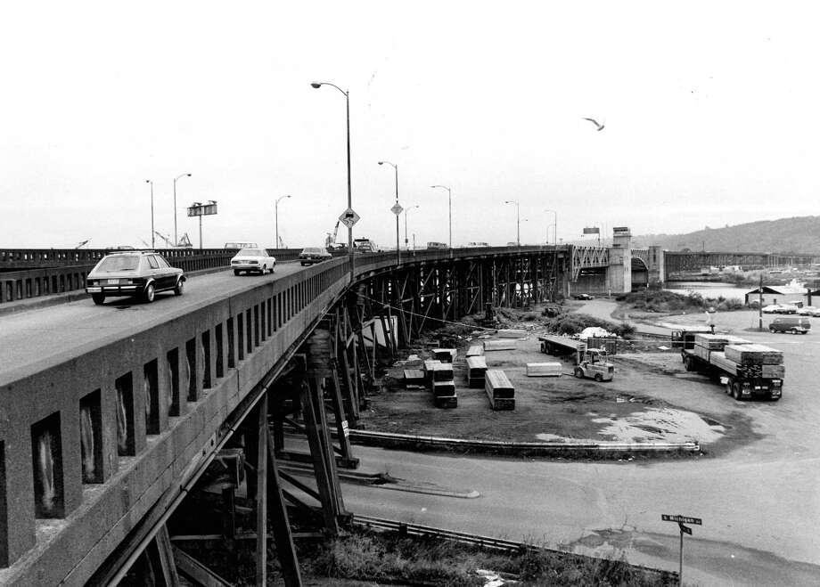 September 26, 1963- 1st Ave. S. Bridge looking south. Photo by Grant Haller. Photo: FILE PHOTO, SEATTLEPI.COM / SEATTLEPI.COM