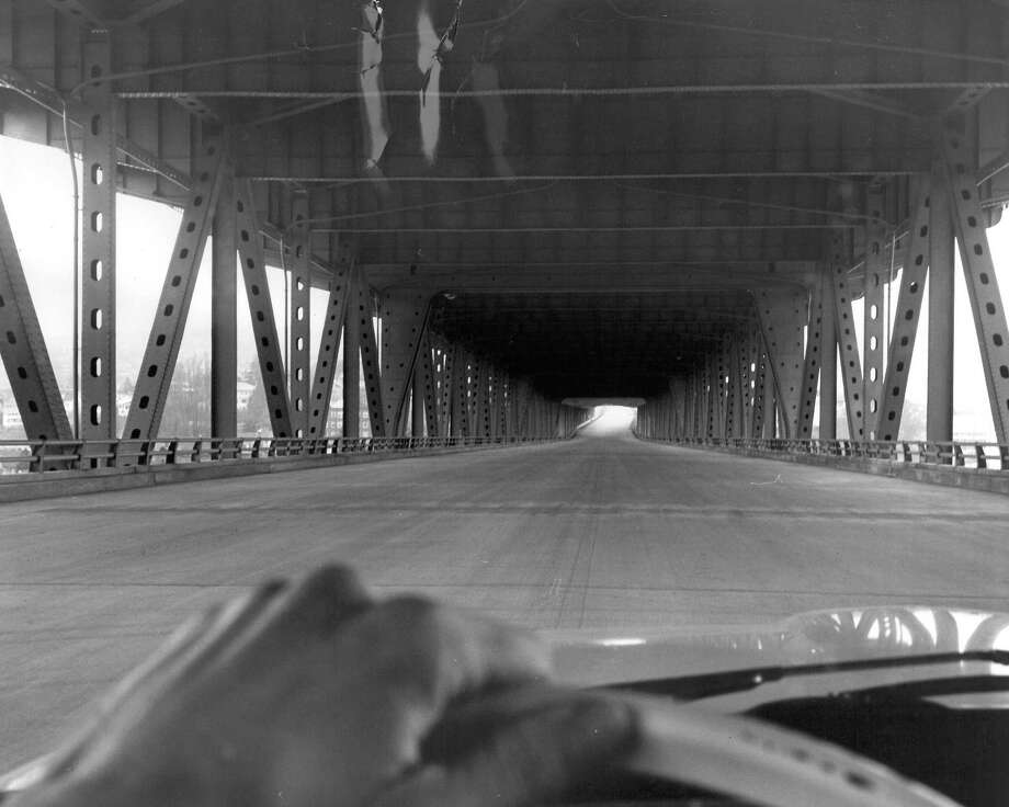 March 19, 1964- View from reversible lane on lower level of the Interstate 5 ship canal bridge. Photo by Cary Tolman. Photo: FILE PHOTO, SEATTLEPI.COM / SEATTLEPI.COM