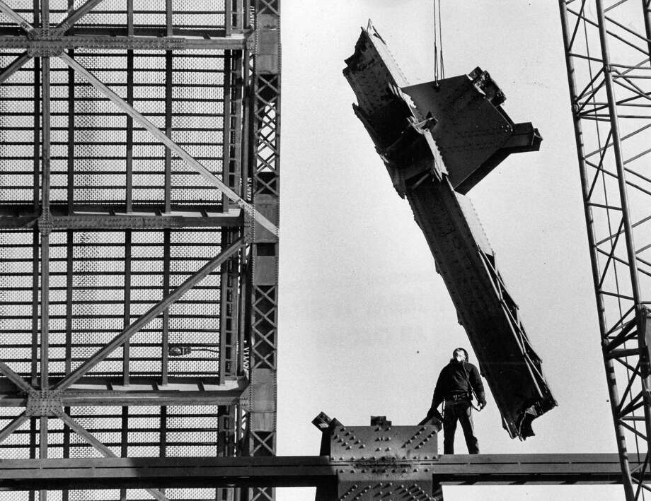 February 8, 1981 - A runaway freighter started the demolition of the West Seattle Bridge in 1978 - but the dismantling is being finished here by professional engineers.  Photo by Phil H. Webber. Photo: FILE PHOTO, SEATTLEPI.COM / SEATTLEPI.COM
