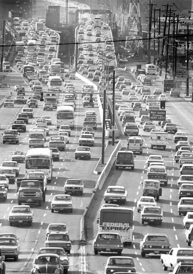 Undated - The whole West Seattle Bridge had its spans full at rush hour.  Photo by Grant Haller. Photo: FILE PHOTO, SEATTLEPI.COM / SEATTLEPI.COM