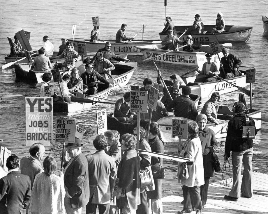 1974 - Boaters demonstrate in support of the West Seattle Bridge Project at Armeni Boat Ramp in West Seattle.  Photo by Tom Barlet. Photo: FILE PHOTO, SEATTLEPI.COM / SEATTLEPI.COM