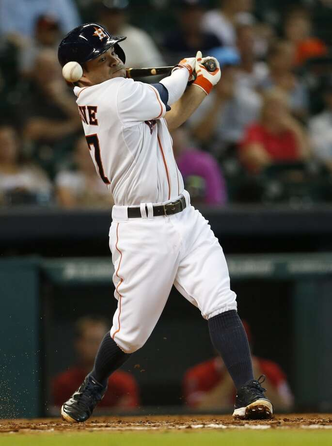 June 4: Angels 4, Astros 0Jose Altuve and the rest of the Astros hitters couldn't get much going against the Angels.  Record: 25-35. Photo: Karen Warren, Houston Chronicle