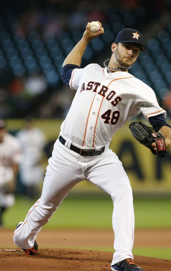 Houston Astros starting pitcher Jarred Cosart (48) pitches during the first inning of an MLB baseball game at Minute Maid Park, Wednesday, June 4, 2014, in Houston.  ( Karen Warren / Houston Chronicle  ) Photo: Karen Warren, Houston Chronicle