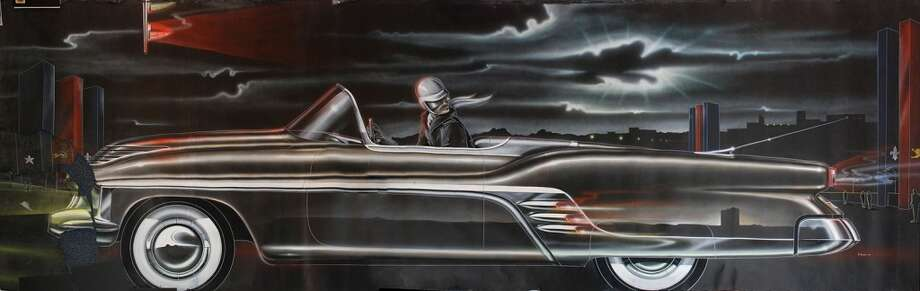 Carl Renner (American, 1923 – 2001), Cadillac  Convertible Concept Car , 1951 , water - based media on  black paper ,  76 x 242 inches . Collection of Jean S. and  Frederic A. Sharf . Photo by Mark Wallison.