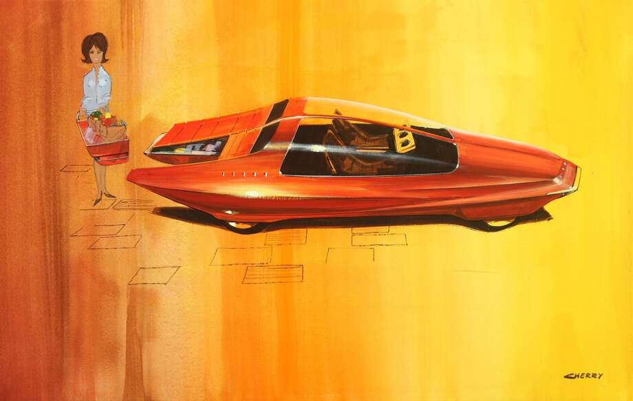 "Wayne Cherry (American, born 1937) , ""Runabout"" Design Concept , ca.  1964 , gouache on paper ,  19 × 30 inches . Brett Snyder Collection . Photo by Mike Jensen ."