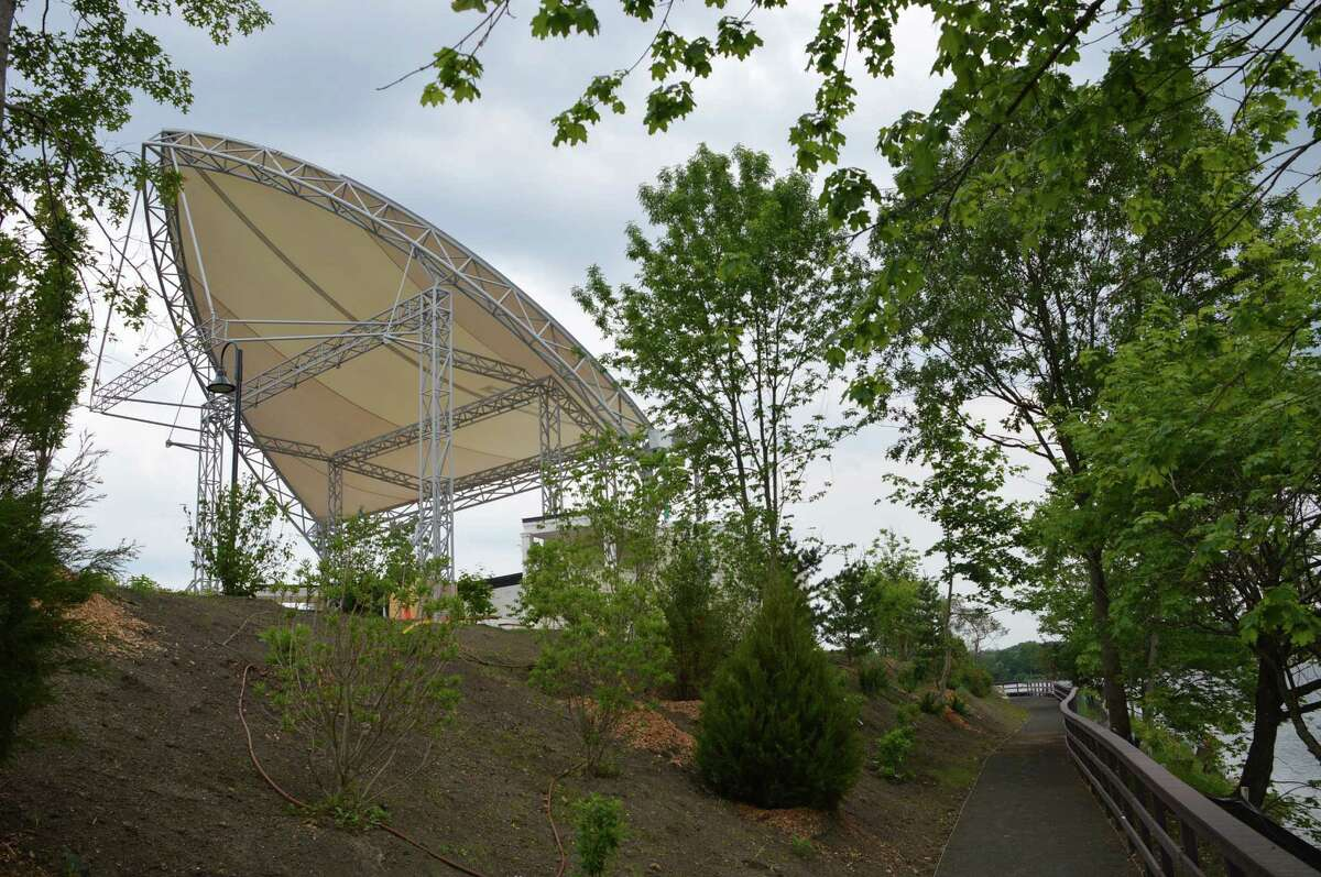 Scenes at the site of the new Levitt Pavilion for the Performing Arts, which is scheduled for a July 13 ribbon-cutting.