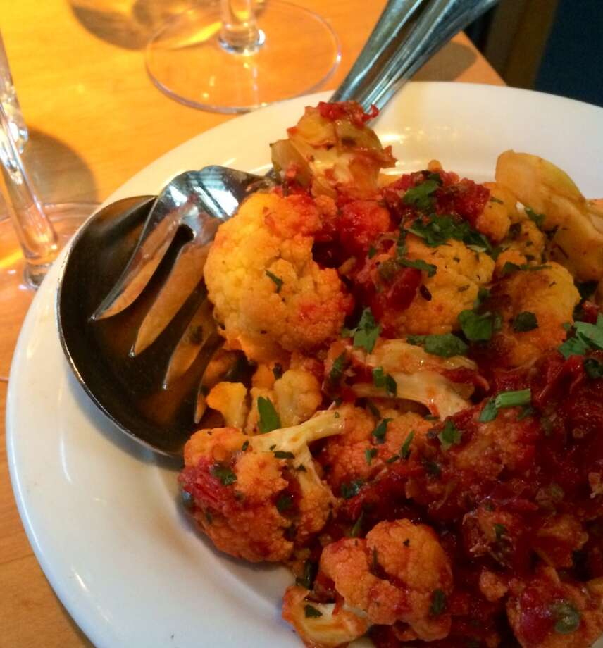 Roasted cauliflower with chiles, garlic and capers ($8)