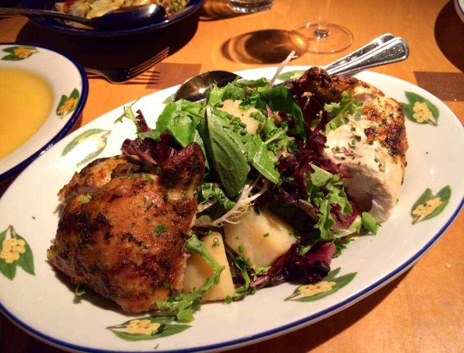 Rotisserie chicken with potato and lettuce salad ($22)