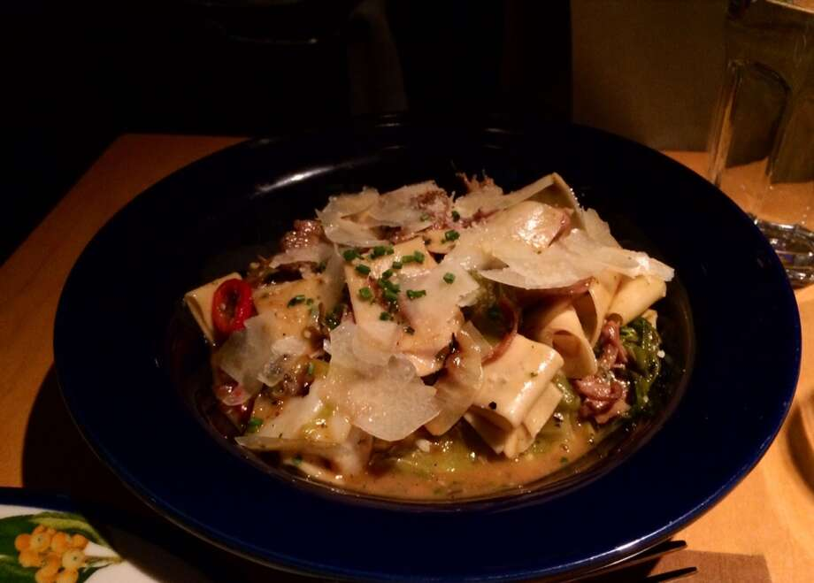 Pappardelle with smoked duck, cabbage and Fresno chiles ($18)