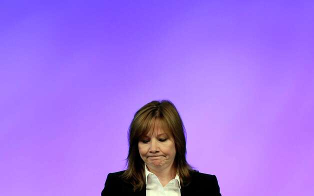General Motors CEO Mary Barra addresses employees at the automaker's vehicle engineering center in Warren, Mich., Thursday, June 5, 2014. Barra said 15 employees have been fired and five others have been disciplined over the company's failure to disclose a defect with ignition switches that is now linked to at least 13 deaths. Photo: Carlos Osorio, AP / AP